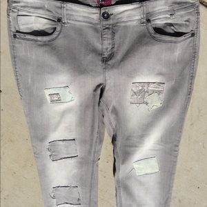 Torrid Denim grey distressed patches Jean pant